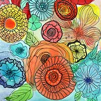 watercolor of flowers in various colors