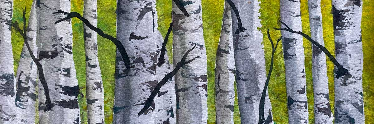 watercolor of birch trees in spring