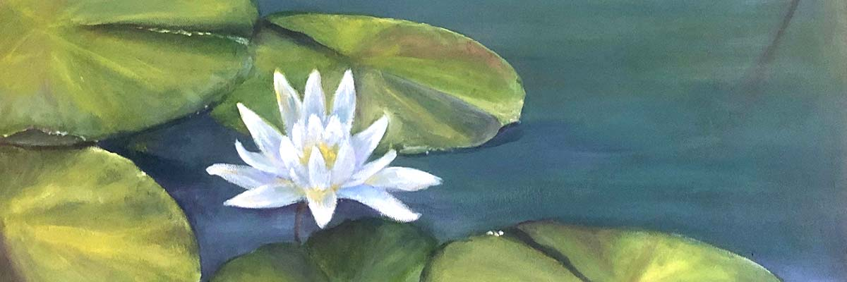 oil painting of waterlillies and lilly pads