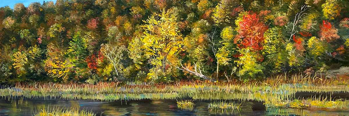 oil painting of trees in fall colors by stream