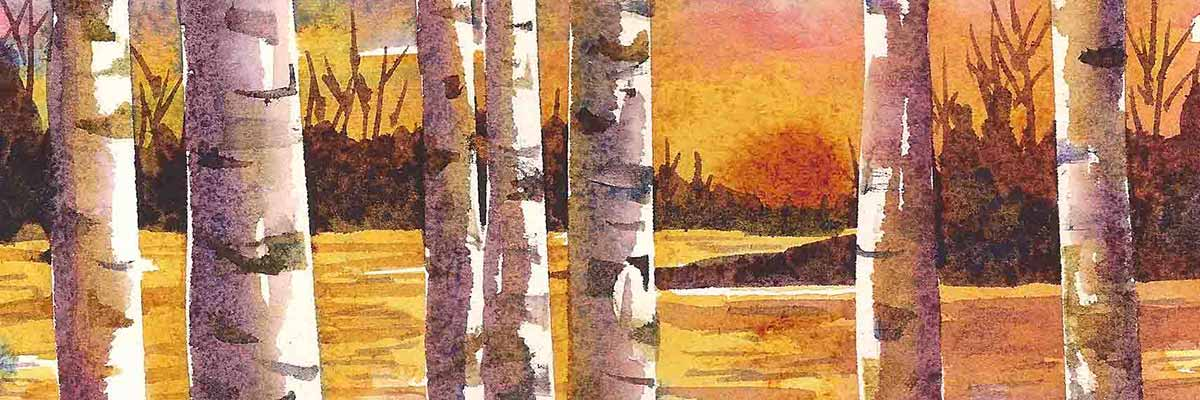 watercolor of birch trees