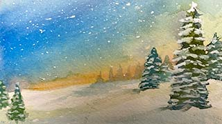 watercolor pine trees under starry night