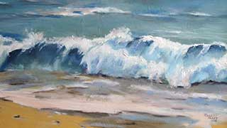 oil painting of waves crashing on shore