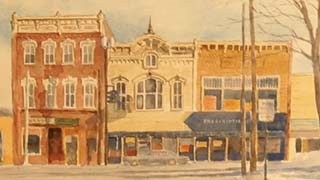 watercolor of fine arts center in winter