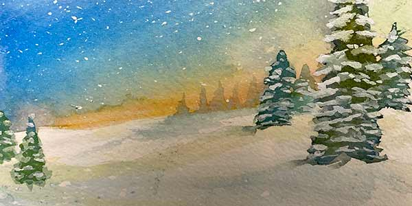 watercolor pines in snow under starry night
