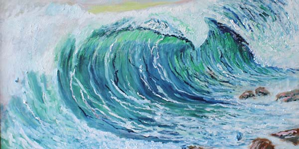 oil painting of wave crashing on shore