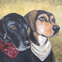 pastel drawing of two dogs